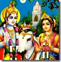 Radha and Krishna with cows