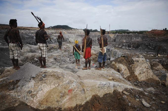 On Monday, 27 May 2013, 170 indigenous people armed with bows and arrows from the Xingu river region again occupied a work site at the controversial Belo Monte dam construction site, grinding to a halt work on one of the world's largest construction projects. The indigenous people say they will not leave, and are prepared to die in the face of police pressure. Photo: Reuters