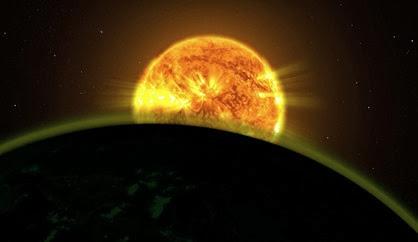a luz de uma estrela iluminando a atmosfera de um planeta