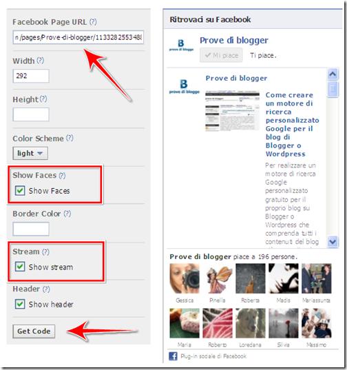 come aggiungere like box mi piace pagina ufficiale facebook blog blogger