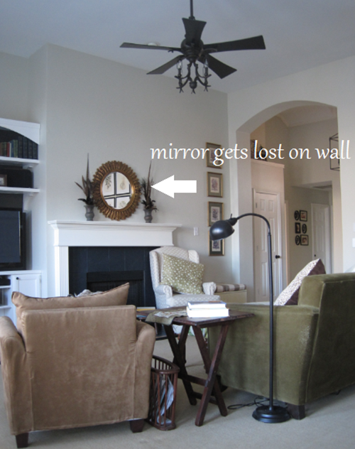 Small mirror above mantel