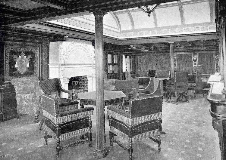 Vapor CRISTOBAL COLON. Fumador de Primera Clase. Foto del libro OBRAS S.E. de C.N. 1923.jpg
