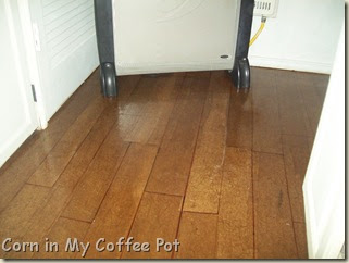 corn in my coffee pot faux wood floor paper decoupage floor. Black Bedroom Furniture Sets. Home Design Ideas