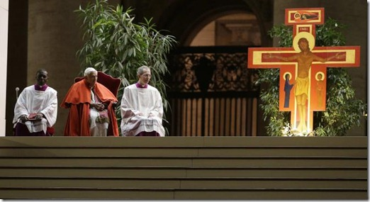 Pope Benedict XVI attends a meeting with members of the Taize Community in St Peter's Square at the Vatican