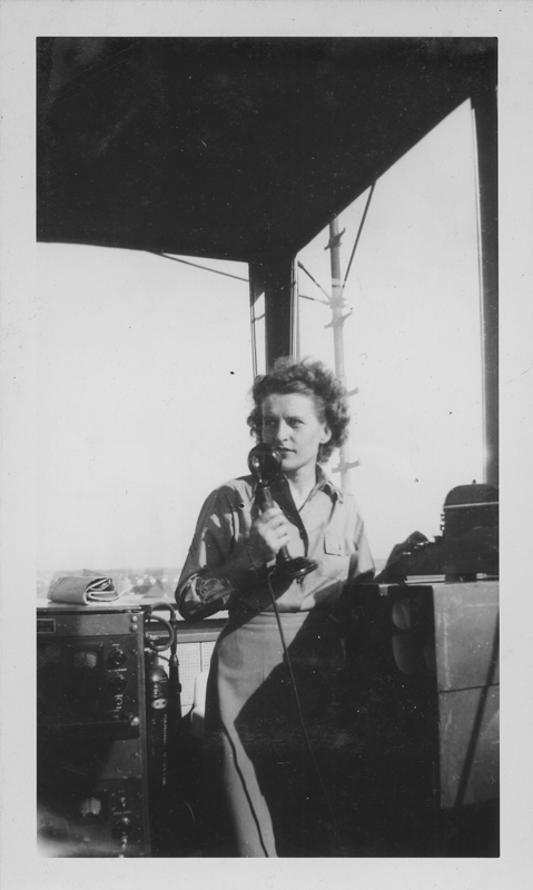 Edna Haynes at the radio at Patterson Field. 1945.