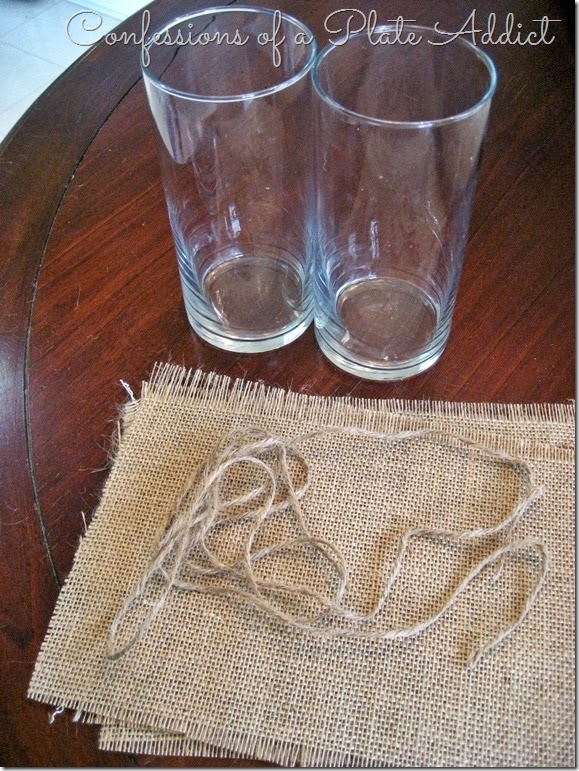 Burlap wrapped vase tutorial