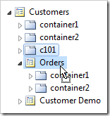 Container 'c101' dropped on Orders page.