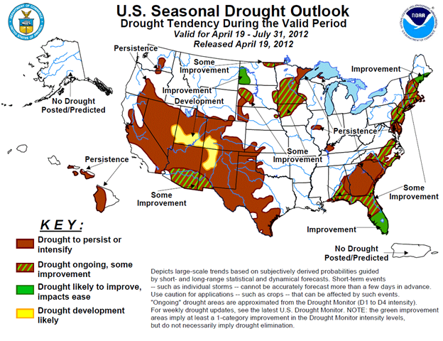 U.S. Seasonal Drought Outlook, Drought Tendency During 19 April 2012 - 31 July 2012, released 19 April 2012. NOAA