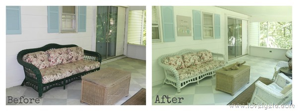 wicker sofa before and after