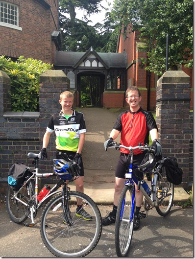 Fundraising bicycle ride - l-r - Ben Barker and Howard Barker outside St Mary's Church