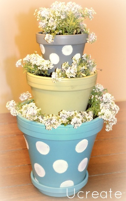 Mini Polka Dot Stacked Pots u-createcrafts.com