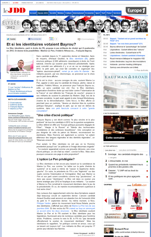 article JDD sobre Los Identitaires
