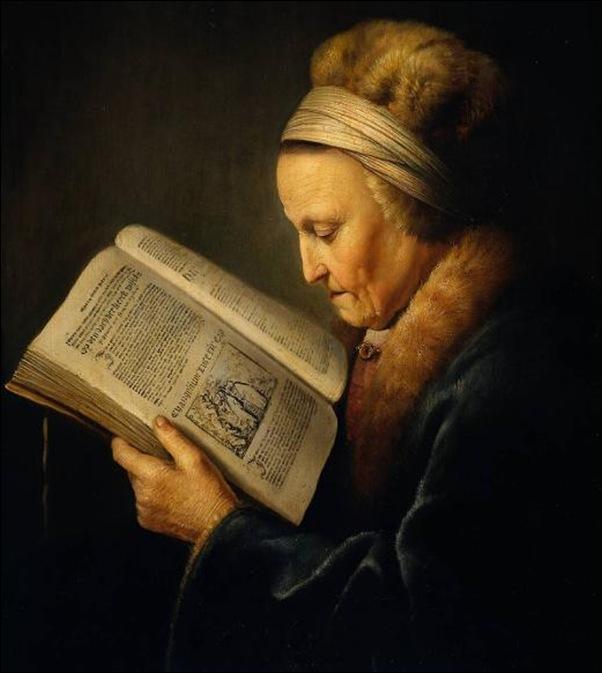 Rembrandt, Vieille femme lisant