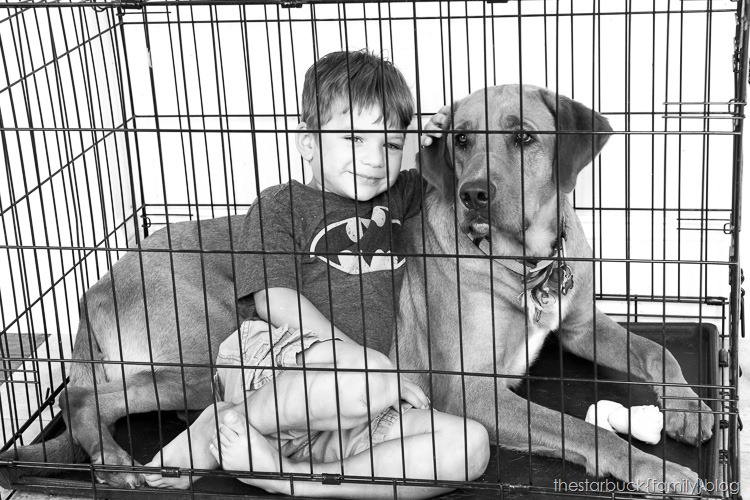 Ryan with simon in crate black and white blog-1