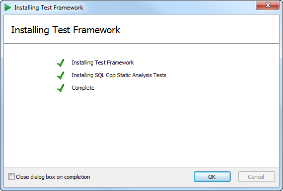 Successful installation of SQL Test in ASafaWeb
