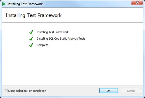 Successful installation of SQL Test in ASafaWeb