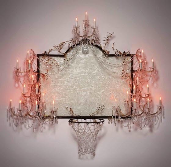 Роскошный баскетбольный щит из кристаллов, латуни, стали и светильников