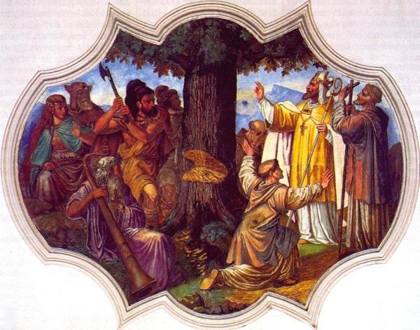 Tala del Roble de Thor pintura de 1737 en Schliersee