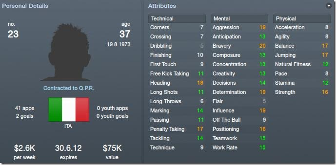 Marco Materazzi in Football Manager 2012
