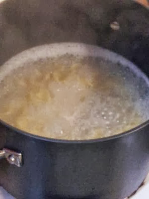 boiling the egg noodles