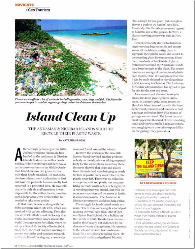 Andaman Photo featured in National Geographic Traveller India Magazine