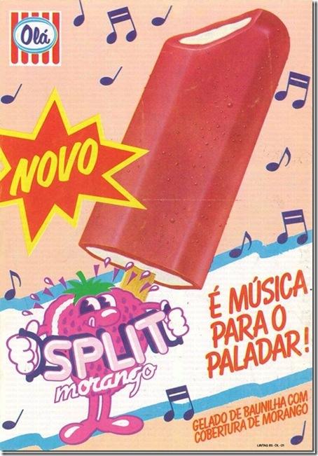 gelado ola split morango santa nostalgia