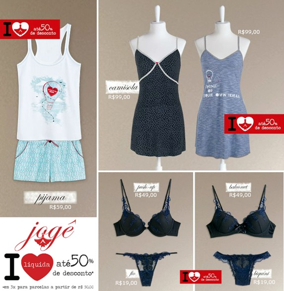 Loja Jogê oferece moda íntima com até 50% off na Liquidação Verão 2012.