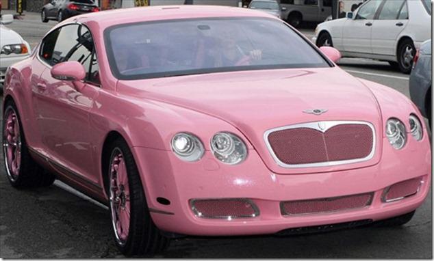 Paris Hilton in her Bentley