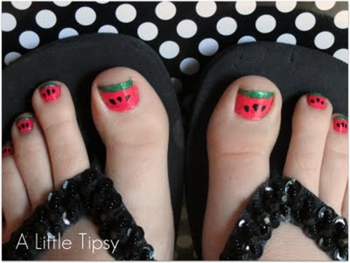Watermelon Toenails pedicure
