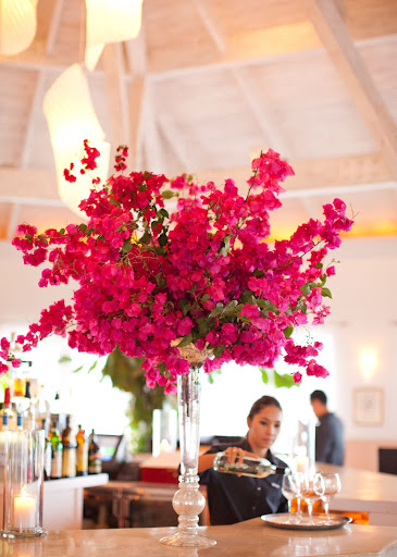 Floral arrangements brought color to Terrace's bar (http://www.parrotcay.como.bz/eat-and-drink/terrace).