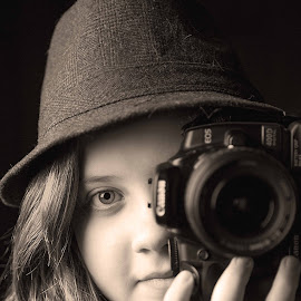 Smile Please by Tracey Taylor - People Family ( canon, woman, camera, hat, eye, b&w, portrait, person )