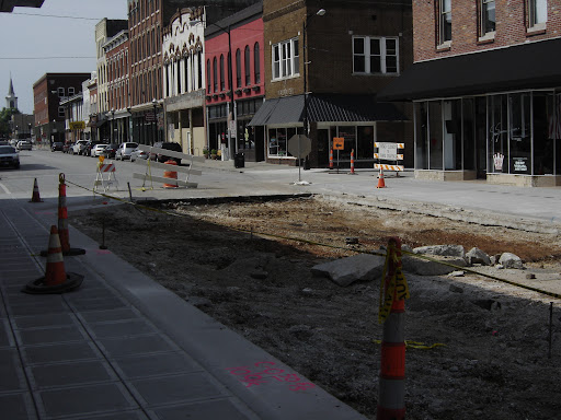 The anticipated date of completion of the construction on the square is September 15th. (photo credit: Sam Senovich)