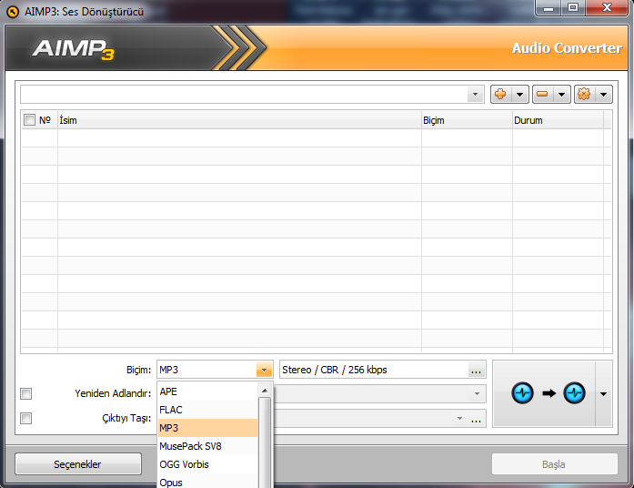 AIMP3 Audio Converter Mp3 eklentisi