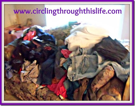Heaps of Laundry needing to be folded www.circlingthroughthislife.com