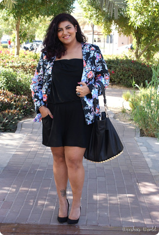 Weesha's World Asos Curve blazer, Forever 21+ playsuit, Next shoes, h &amp; m jaguar ring, Folli Follie ring