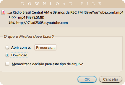 Download de vídeo do YouTube