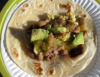 Fresh tortillas, eggs, pintos, salsa, avocado