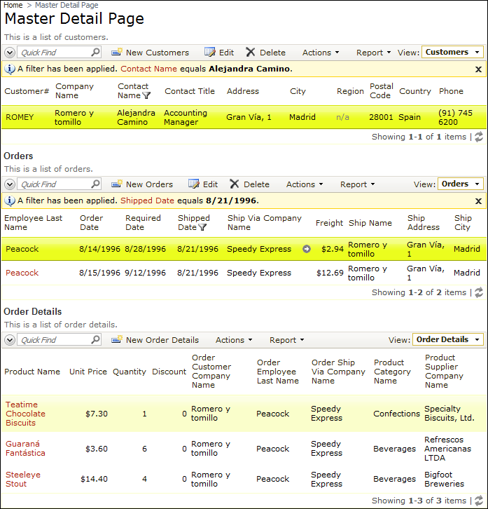 Master Detail Page configured with a three-level master-detail relationship.
