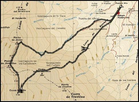Mapa Picon de Jerez 3090m, Puntal de Juntillas y Cerro Pelao 3181m (Sierra Nevada)