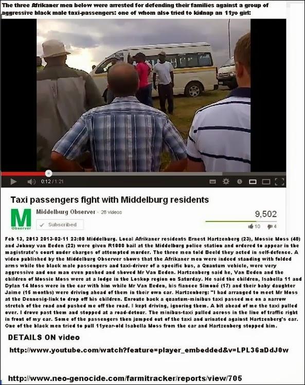 MIDDELBURGafrikanersArrestedForDefendingFamiliesFromAggressiveBlackTaxiPassengers