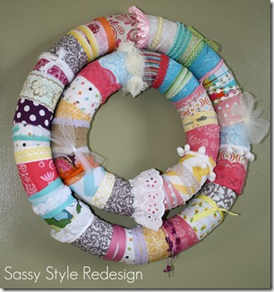 fabric noodle wreath