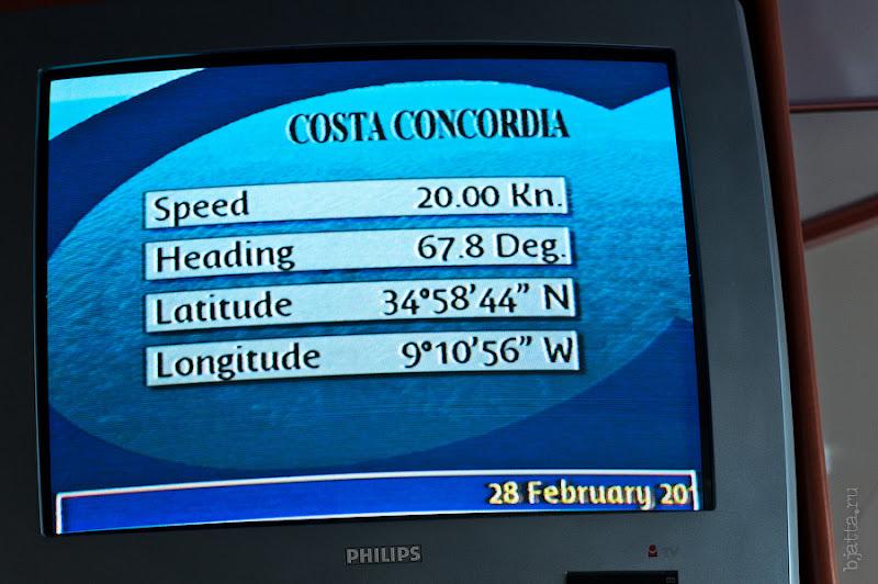 24. И координаты. Октоберфест в феврале на Costa Concordia.