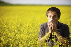 Man suffering from pollen allergy