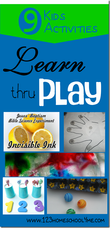 9 Kids Activities to Learn thru Play #preschool #homeschool #kidsactivities