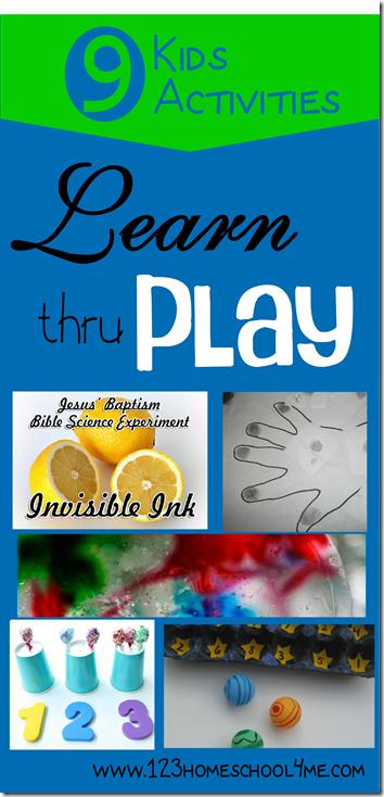 9 Kids Activities to Learn thru Play #preschool #homeschool #kidsactivities