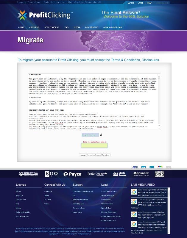 migrasi akun Justbeenpaid ke profitclicking.com