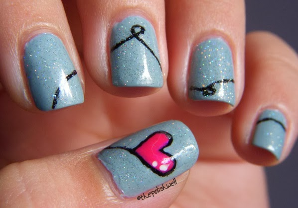 Blue Pink Heart Valentine Nails Pink And Blue Nail Designs