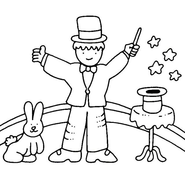 Dibujos de magos y magia para colorear - Plantilla para pintar pared ...