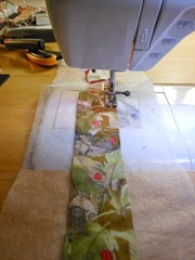 sewing one strip on top of another