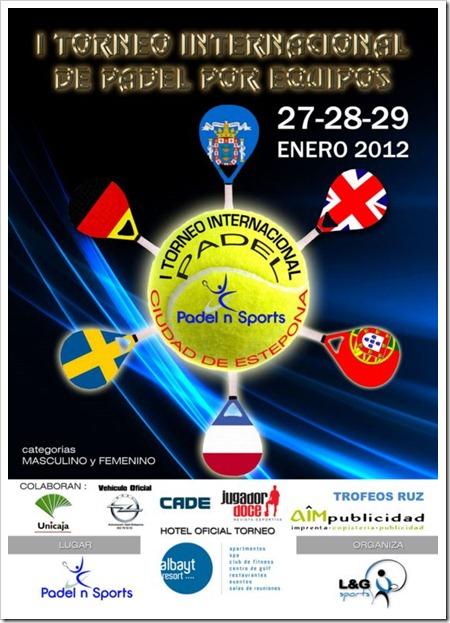 """I Torneo Pádel Internacional """"Ciudad de Estepona"""" por equipos del 27 al 20 de enero."""